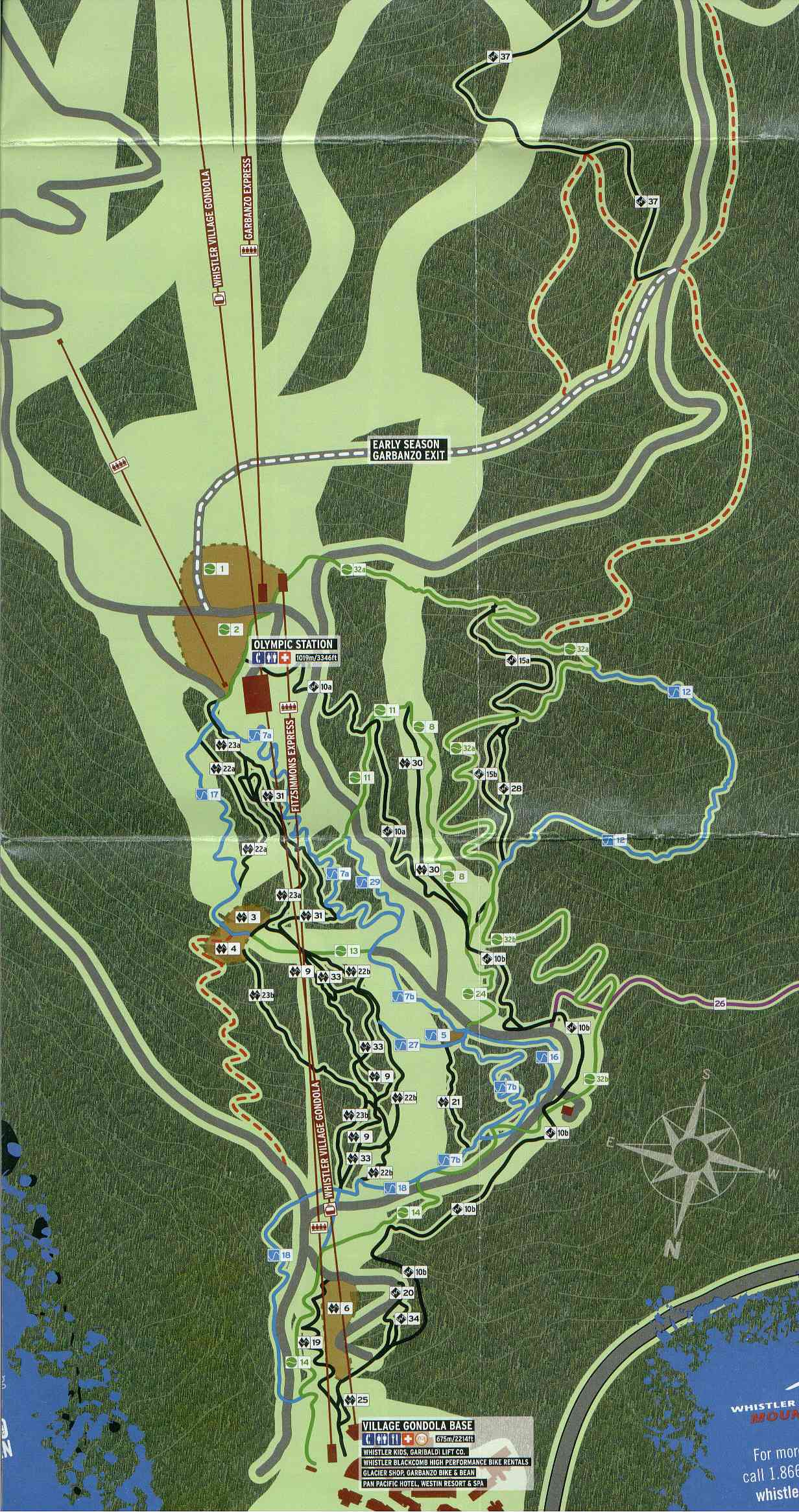 Whistler Mountain Bike Park Brochure And Trails Map
